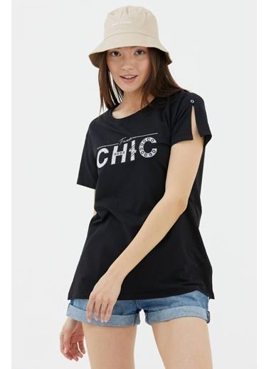 Sementa Nakış Detaylı Yanları Yırtmaçlı Tshirt - Siyah Siyah